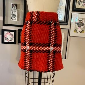 Topshop Chunky Knit Plaid Skirt